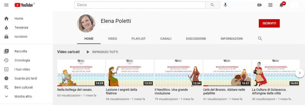 Figura 4: Canale Youtube di Elena Poletti, conservatrice archeologica del museo.