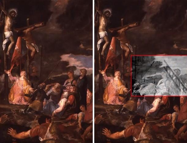 Figura 5: Il confronto tra la versione finale della Crocifissione e la sua Riflettografia IR ha rivelato dei dettagli invisibili. all'occhio umano